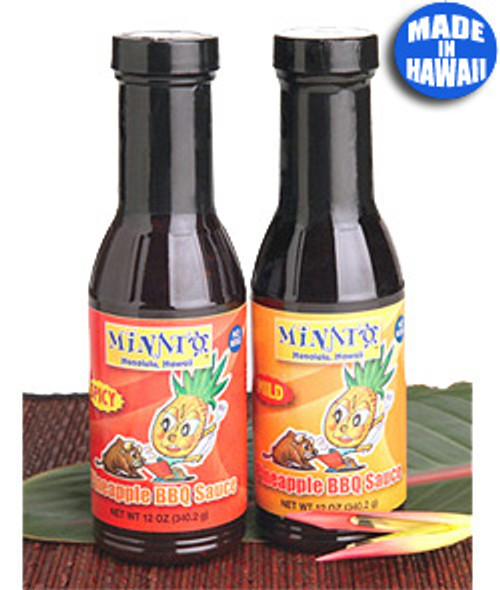 Minato Pineapple BBQ Sauce in order from left to right: Spicy and Mild