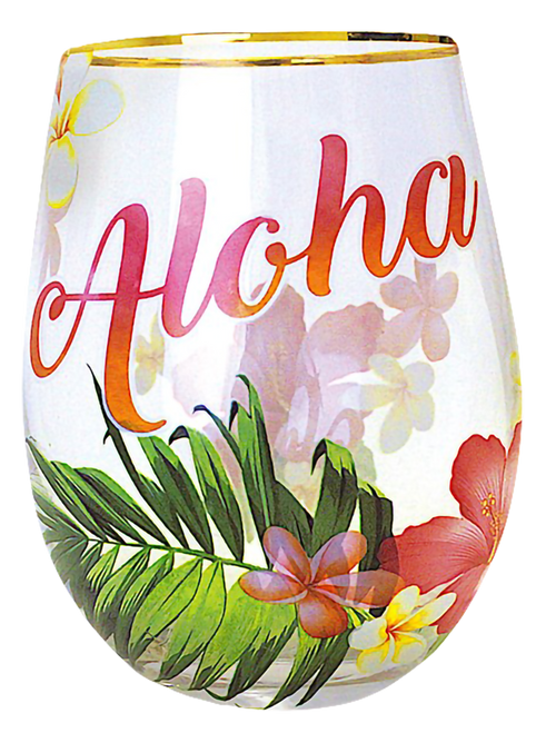 Coastal Stemless Wine Glass - Aloha Palm design