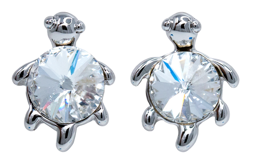 Turtle with Crystal Earrings in Clear