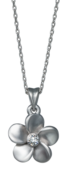 Island Crystal Medium Plumeria with Crystal 18 inch Necklace with clear colored crystal
