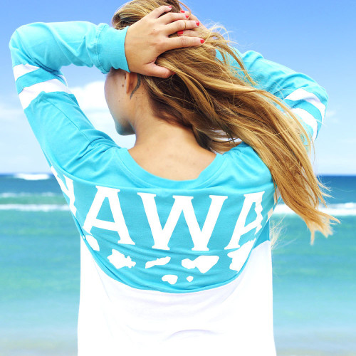 Female model standing wearing Hawaii LADIES Long Sleeve Jersey Tee in Turquoise color