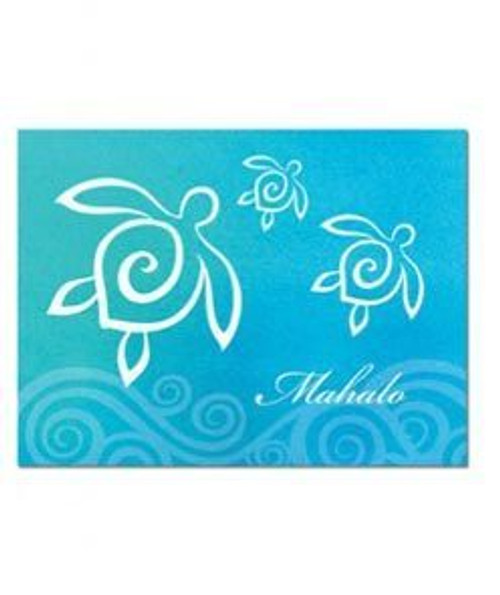 Hawaii Themed Greeting Cards 10 Pack in Honu Swirl Mahalo Design