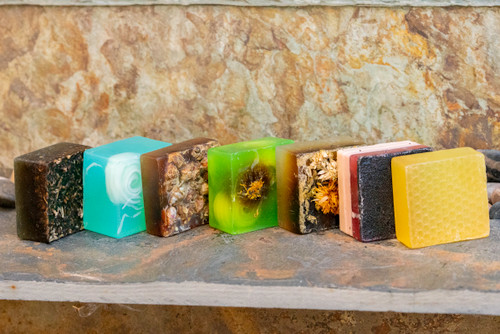 Honeybunch PURE Natural ARTisan Soap. Available in the following scents: Raspberry, Ocean, Rose, Lemongrass, Lavender, Tea Tree,  Raspberry, or Manuka.