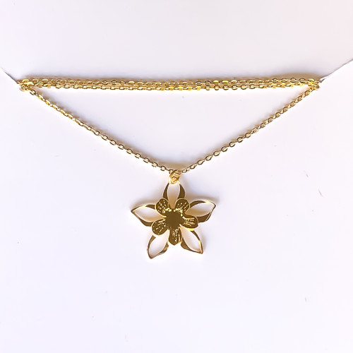 Liv-N-Aloha® Gold Columbine Flower Necklace