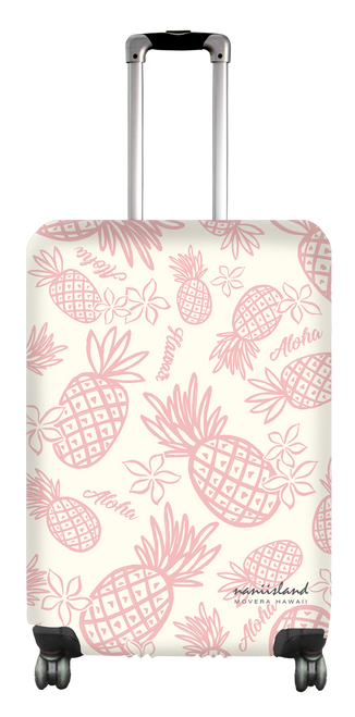 Island Style Medium Luggage Cover by Nani Island in cream with pink pineapple design