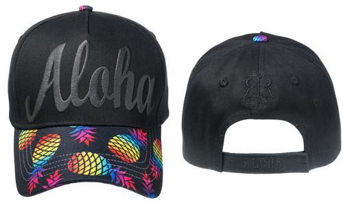 Robin Ruth® Foil Accent Cap in Aloha rainbow pineapple design