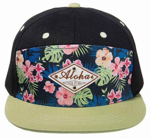 Robin Ruth® Aloha Emblem Cap in black with green colored visor bill