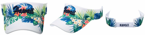 Robin Ruth® Hawaii Aloha State Floral Leaves Visor in white color