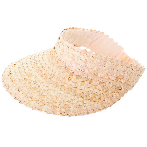 Raffia Straw Rattan Sun Visor Hat in sand beige color