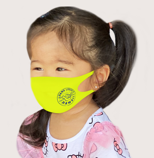 child wearing ABC Store Exclusive - Kid Size 3D Aerosilver Hawaiian Design Fashion Mask in hangloose