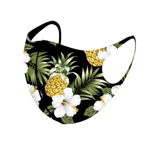 3D Aerosilver Hawaiian All Over Print Fashion Maskin tropical pineapple black