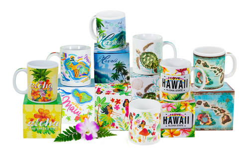 Hawaiian Design Ceramic Mugs in Gift Box in the following designs: Sweet Life, Maui Fun Map, Island Waves, Honu Voyage, Island Hula Honeys, Plumeria License, Vintage Map, and not currently pictured Honu Scenes.