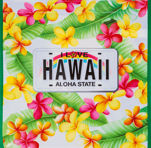 Hawaii Reusable Bags - Assorted Designs in Plumeria License design