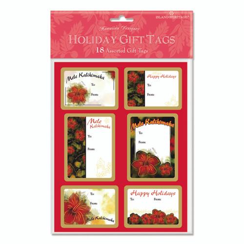 Christmas Gift Tags - Pack of 18 - Hibiscus Kalikimaka
