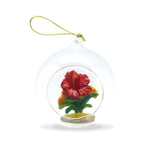 Glass Window Christmas Ornament - Hibiscus