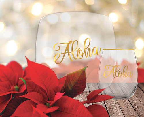 Holiday Glassware  in golden aloha design