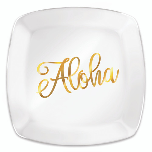 Holiday Glass Plate in Golden Aloha
