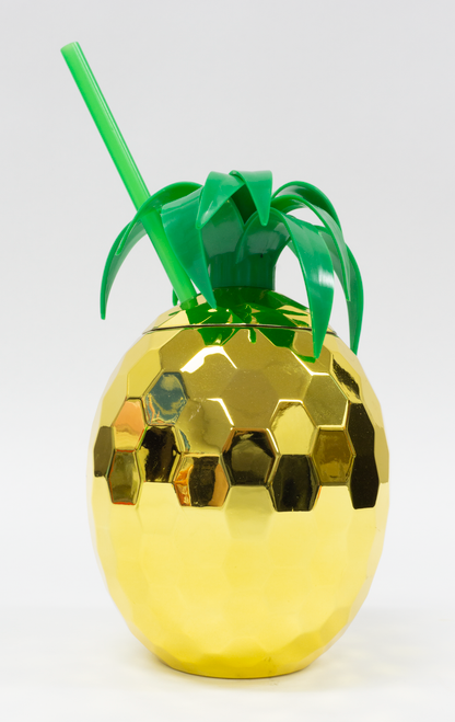 Gold Pineapple Tumbler with Straw