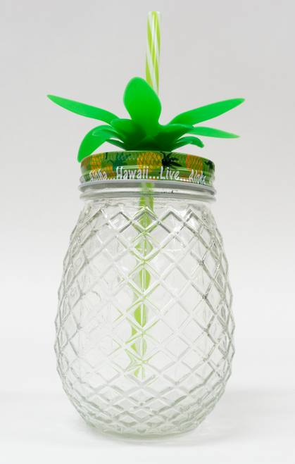 Pineapple mason jar with straw