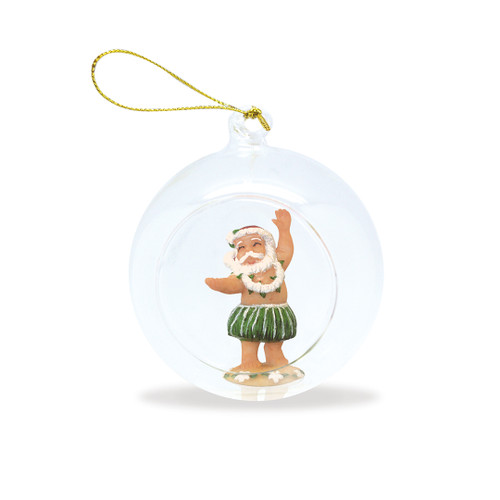 Glass Window Christmas Ornament - Hula Santa