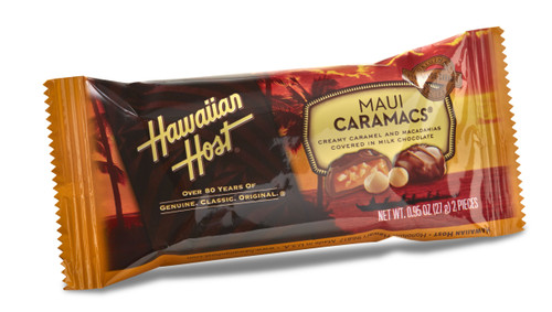 A single Hawaiian Host Maui CaraMac Chocolate and Caramel Covered Macadamia Nuts, individually wrapped in 2 piece bars. Sold as a 24 pack.