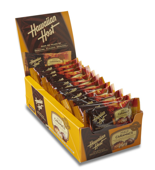 Hawaiian Host Maui CaraMac Chocolate and Caramel Covered Macadamia Nuts, individually wrapped in 2 piece bars. Sold as a 24 pack.