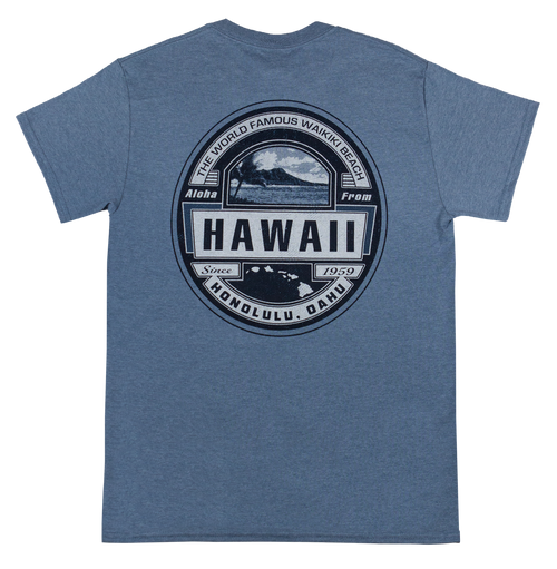 Mens Crew Neck Tee - Waikiki Beach - Front