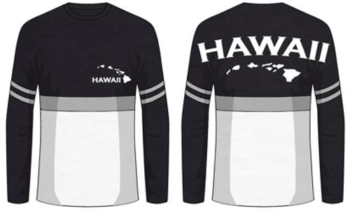 Hawaii 3 Tone UNISEX Long Sleeve Jersey Tee in Black-White-Gray Stripe
