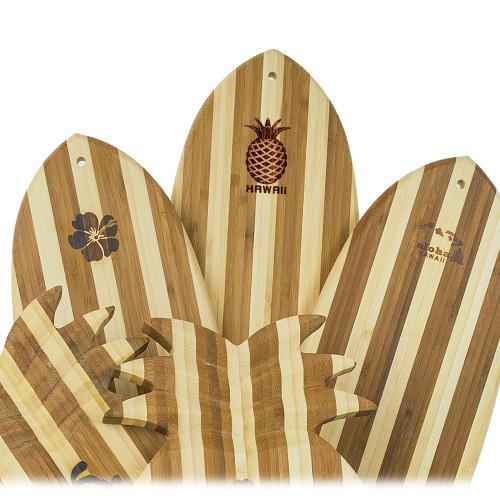Tropical Bamboo Surfboard Shaped Cutting Board