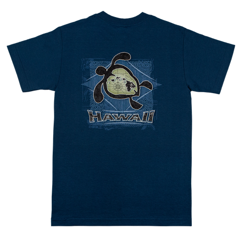 Hawaiian Performance Surfwear® Crew Neck Tee - Honu Islands in Blue color