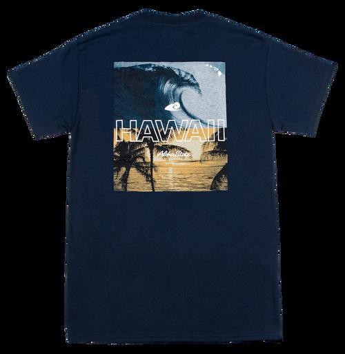 Hawaiian Performance Surfwear® Crew Neck Tee in Hawaii Pipeline design and in Navy color