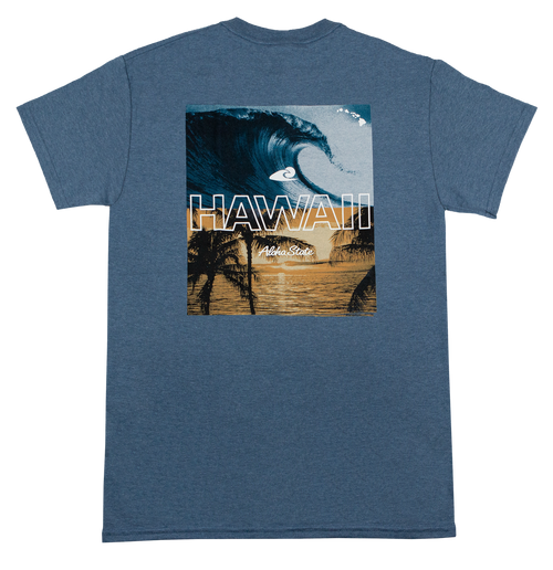 Hawaiian Performance Surfwear® Crew Neck Tee in Hawaii Pipeline design and in Denim Heather color