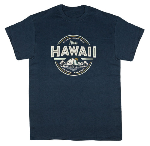 Hawaiian Performance Surfwear® crew neck tee in navy color with Aloha Hawaii written & a sketch of island's shoreline