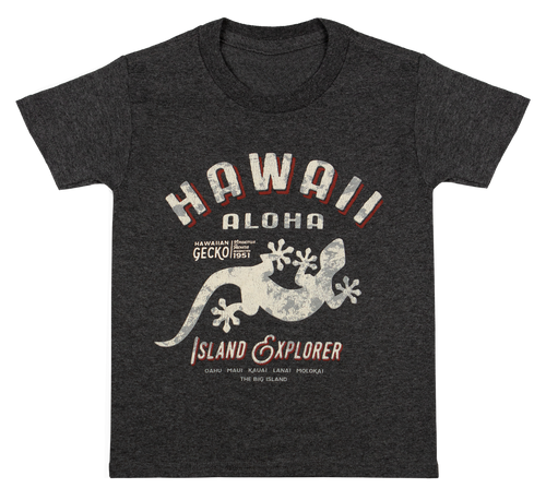 Hawaiian Performance Surfwear® Child's Tee - Island Explorer in Charcoal Heather color