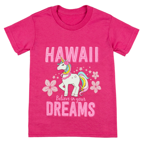 Hawaiian Performance Surfwear® Children's Tee - Unicorn in Raspberry color