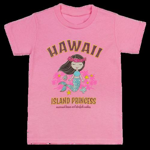 Hawaiian Performance Surfwear® Children's Tee - Mermaid, Mermaid Kisses & Starfish Wishes in Pink color
