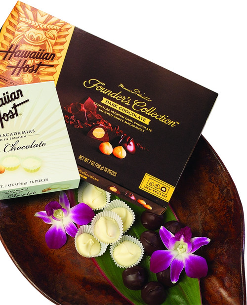 Hawaiian Host Founder's Collection Dark Chocolate Covered Macadamia Nuts - 7 oz box