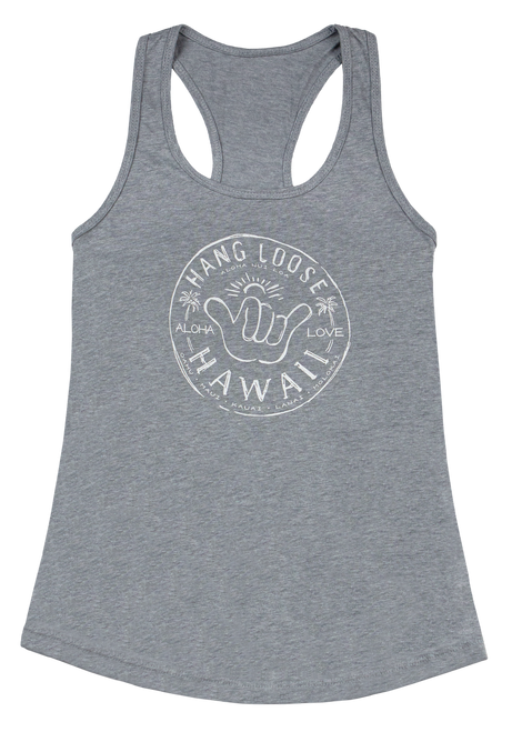 Island Girl® Racer Back T- Shirt - Hangloose in Gray Heather color
