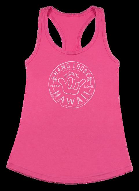 Island Girl® Racer Back T- Shirt - Hangloose in Hot Pink color