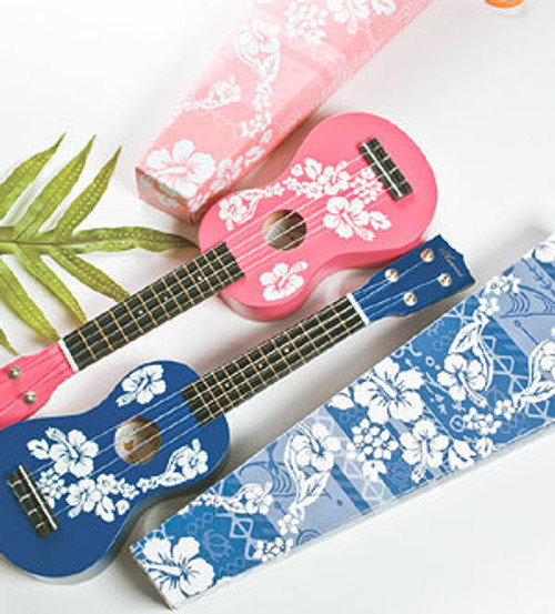 Floral Souvenir Ukulele, available in blue or pink
