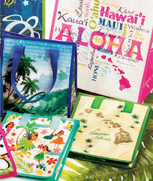 Hawaii Hot/Cold Totes shown in Island Waves, Words of Aloha, and Hula Honeys designs
