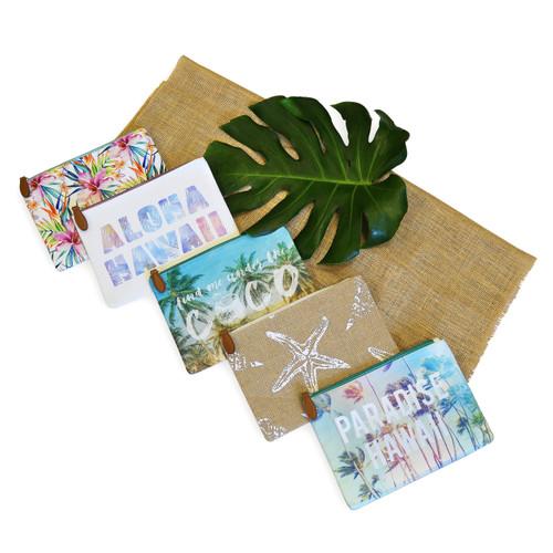 Island Clutch Bags in Paradise Hawaii, Aloha Hawaii, Coco Beach (Blue), Coco Sun (Pink), Paradise, Star Fish designs