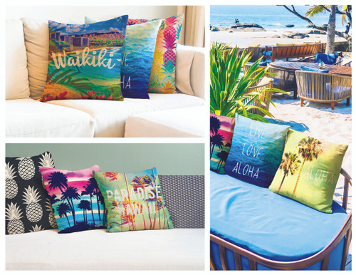 Island Pillow Collection in the following designs: Aloha Palm Tree, Black & White (Pineapples), From Maui with Love, Waikiki, Live Love Aloha, Paradise Hawaii, Rainbow (Pineapples), Sunset