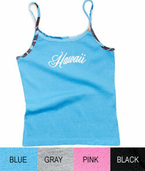 Island Design - Strap Tee with Printed Trim.  Available in an assortment of colors: Blue , Black, Pink, Gray, and White.  Blue color no longer available.