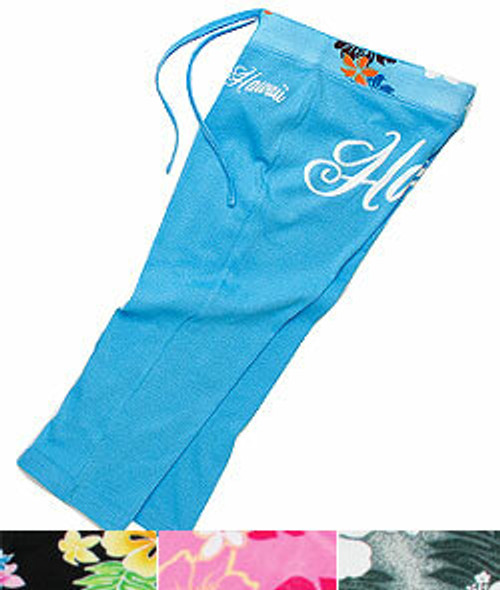 Island Design Collection - Capri Pants with Printed Trim.  Available in an assortment of colors: Blue , Black, Pink, Gray, and White.  Blue color no longer available.