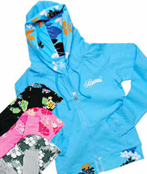 Island Design Collection -Hoodie with Printed Trim in an assortment of colors: Blue , Black, Pink, and Gray.  Blue color no longer available.