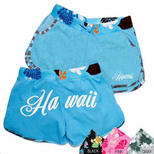 Island Design - Solid Shorts with Print Trim.  Available in an assortment of colors: Blue , Black, Pink, Gray, and White.  Blue color no longer available.