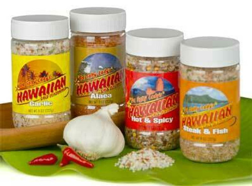 Hawaiian Salt Seasonings in order from left to right: Garlic, Alaea Salt, Hot & Spicy, and Steak & Fish