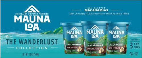 Mauna Loa Wanderlust Macadamia Nuts Gift Set of Three - Savory Collection which has a bowl of Assorted types of Macadamias and images of three cups of Macadamias: 1 Milk Chocolate; 1 Dark Chocolate; 1 Toffee Chocolate