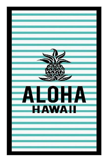 Large Velour Beach Towel in Aloha Stripe
